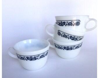 Set of 4 Pyrex Blue Old Town Teacups