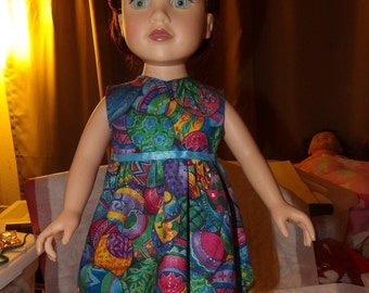Easter egg print sleeveless sundress for 18 inch Dolls - ag226