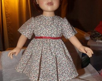 Red & blue floral print full dress for 18 inch Dolls - ag232