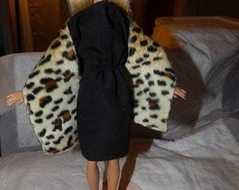 Stunning Leopard faux fur shall for Fashion Dolls - ed640