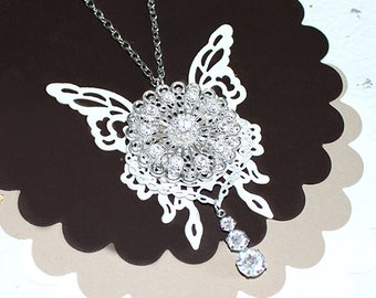"Steampunk Necklace ""Snow White""- Swarovski Crystal White Butterfly Steampunk Necklace Butterfly Necklace Bride Wedding Gift for Her"