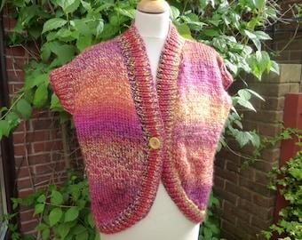 Hand knitted shrug sleeveless cardigan UK 14 US 10 12