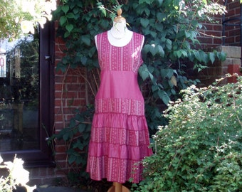 Lovely 1970s vintage tiered dress in deep pink  - Edmee Collection, France.