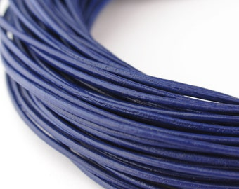 LRD0110011) 1.0mm Violet Genuine Round Leather Cord.  1 meter, 3 meters, 5 meters, 10 meters, 18.6 meters.  Length Available.