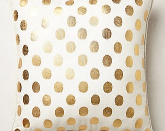 Anthropologie inspired  fabric 12x12 or your size complete pillow metalic coin dot on white nursery baby kids
