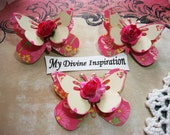 Hot pink and Ivory Paper Butterflies, Paper Embellishments for Scrapbooking Cards Mini Albums Tags and Paper Crafts