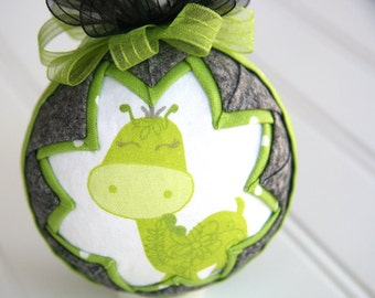 Quilted Ornament Ball/Gray and Green - Baby G