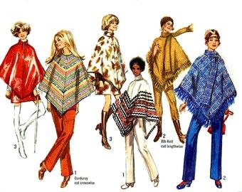 Vintage 1970s Poncho Pants Pattern Mini Skirt Uncut Bust 34 Size 12 Simplicity 8932