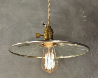 Industrial Lighting - Vintage Pharmacy Light - Pendant Lamp with Flat Mirror Reflector Shade - Steel - Antique Apothecary Lamp - Drafting