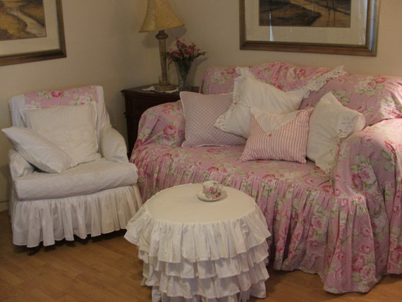 shabby chic sofa slipcoverthrow by mythymecreations on etsy. Black Bedroom Furniture Sets. Home Design Ideas