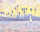 San Diego Sailboat - Landscape Painting Original Oil