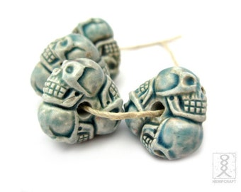 4pc Ceramic Skull Wheel Beads, Raku Clay Beads, 20mm
