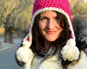 Earflap Hat Crochet Pattern: Family of Sizes INSTANT DOWNLOAD