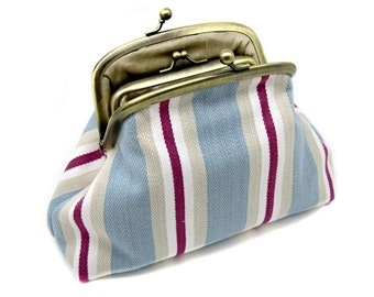 Blue Striped Kiss Lock Clutch Coin Purse Wallet Gift for Women Wine White Cotton Linen Cream Metal Gold Double Frame