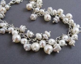 Freshwater Pearl Charm Bracelet in Sterling Silver, June Birthstone Bracelet, Pearl Bracelet, Bridal Jewelry, Pretty White Pearl Jewelry