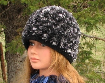 Black Grey Natashia Knit Felt Hat Boxy Crusher Eyelash Novelty Yarn