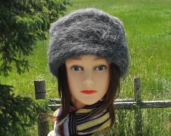 Grey Alpaca Knit Felt Furry Hat Boxy Crusher Pillbox