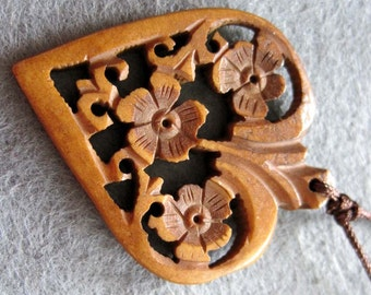 Ox Bone Bead Carved Double Sides Hollow Floral Flower Heart Shape Pendant 40mm x 35mm  T2175