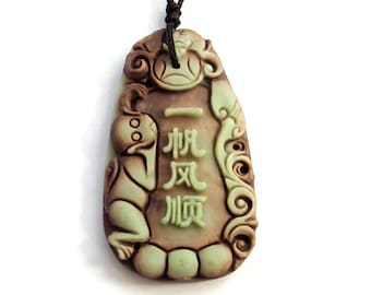 Lucky Word Yi-Fan-Feng-Shun Plain Sailing Monkey Bat Blessing Pendant Two Layer Natural Stone 47mm x 37mm  ZP020