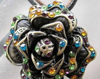 Metal Flower Rhinstone Pendant With Leather Cord Necklace 35mm x 35mm  T2103