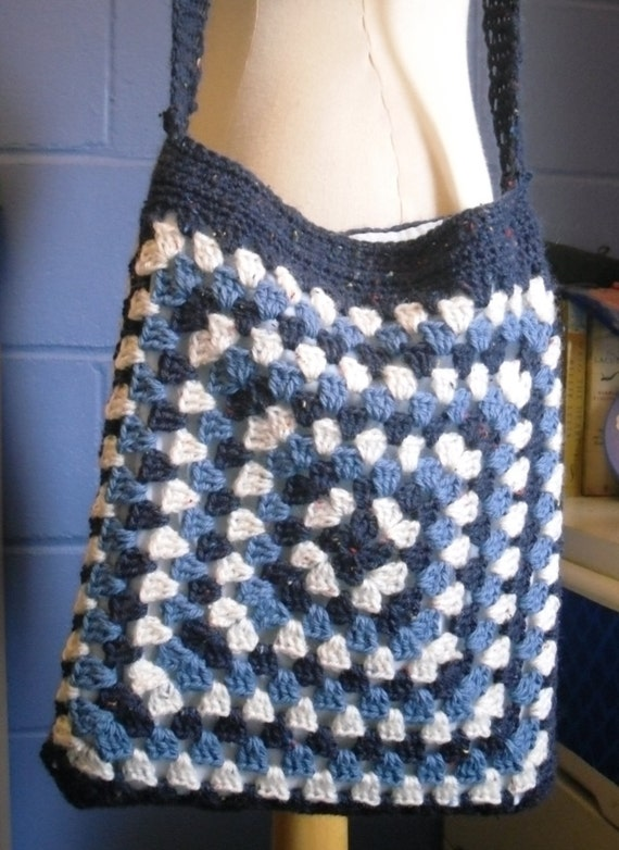 Crochet Bag Blue and Cream Granny Square Handbag by Kezylou