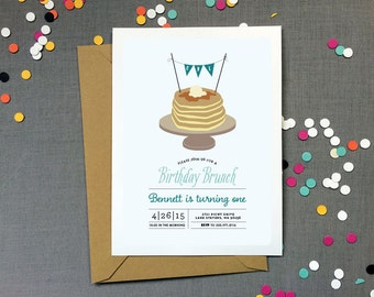 Pancake Brunch Birthday Party Invitation for a boy - Kid's Birthday Party - Printable