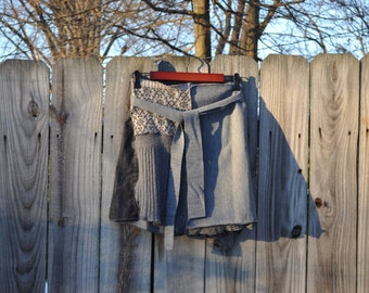 CUSTOM MINI Sweater Wrap Skirt/Upcycled Sweater Mini Skirt/ Rebirth Recycling