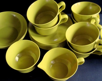 Mustard Melamine, Gold Melmac,  Beach House Dishes, Vintage Picnic Ware, Camper Dishes, Mustard Melmac, Cups and Plates, Vintage Melmac