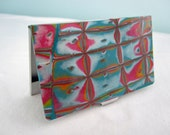 Pink & Turquoise Wallet, Pink Card Case, Hot Pink and Turquoise Credit Card Case