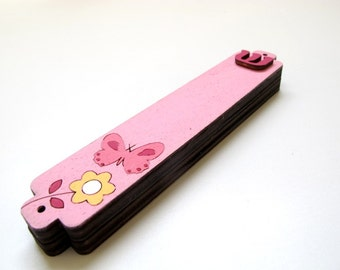 Children mezuzah pink butterfly and a flower kids mezuzah case, nursery mezuzah, jewish mezuzah