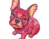 French bulldog // SALE 1+1// Buy one get one FREE, animal art print, Raspberry Frenchie dog, size 8x10 inch, (No. 55)