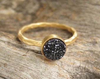 Tiny Black Druzy Ring, Gold Ring, Stackable Rings, Solitaire Rings, Druzy Quartz, Drusy Ring, Gemstone Ring, 18K Gold Vermeil Hammered Band