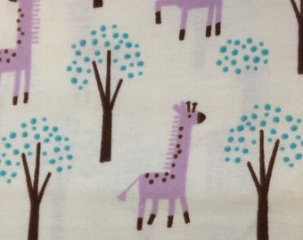 Purple Giraffes  - FLANNEL - 1 yard