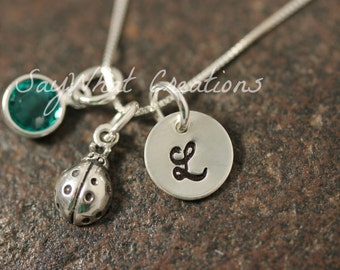 Sterling Silver Ladybug Charm Necklace with Mini Hand Stamped Initial and Birthstone
