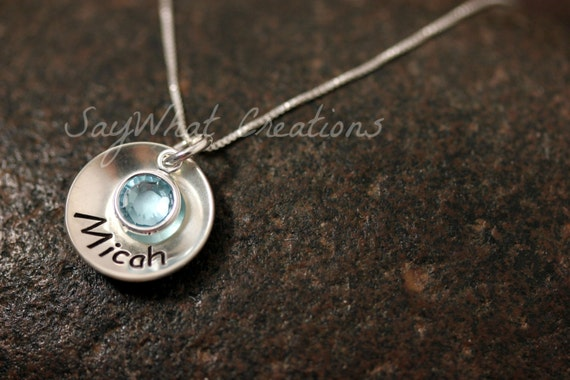 Hand Stamped Sterling Silver Small Domed Cup Necklace with Name and Birthstone
