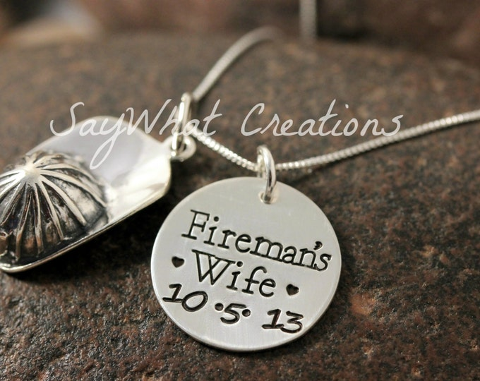 Custom Hand Stamped Sterling Silver Fireman Hat Helmet Necklace for Firefighters Wife, Girlfriend, Etc. I love my fireman