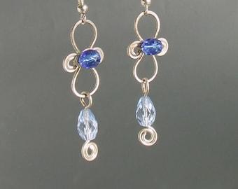 Blue dangle earrings silver plated blue glass handmade jewelry