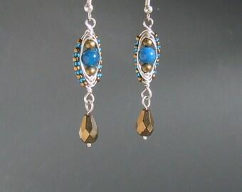 Blue agate earrings, stone beads earrings, bronze dangle earrings, stone boho jewelry