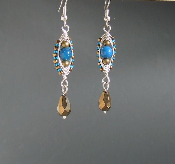 Blue earrings, agate earrings, stone earrings, bronze dangle earrings, stone jewelry