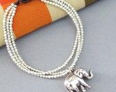 Silver Colour Bead  Elephant Multi Line Bracelet