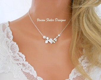 Orchid Necklace Pearl BRIDESMAID GIFT Bridal Flower Necklace Wedding Jewelry Flower Girl