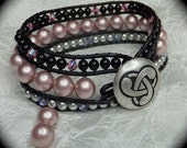 Custom Order Swarovski Pearl and Crystal Leather Wrap Cuff with Celtic Button