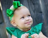 Green Christmas Bow, Baby Headband, AVAILABLE IN 7 COLORS, Satin Baby Bow, Christmas Bow, red Headband, Satin Headband