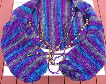 ALL SEASON Beaded Shrug, Boho Clothing, Boho Fashion, Funky Shrug, Colorful Shrug, Beaded Shrug, Women's Shrug, Crochet Shrug
