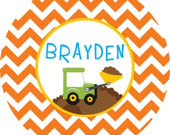 Personalized Digger Construction Melamine Plate