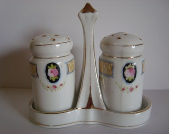 Nippon Hand Painted Salt & Pepper Shakers with Carry Tray