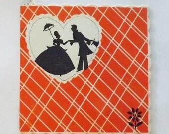 Art Deco Vintage Gibson bridge tally card Valentine's Day with Victorian couple silhouette in heart ephemera