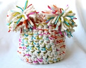 Off White and Rainbow Baby Hat - 6 to 12 Months - READY TO SHIP