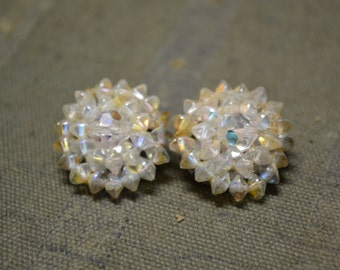 1960s Crystal Cluster Clip Earrings