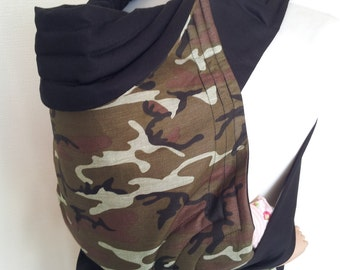 MEI TAI Baby Carrier / Sling / Reversible / Camouflage with Black in straight cut model